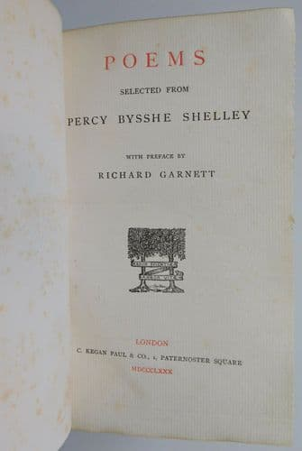 Selected Poems Percy Bysshe Shelley Victorian book classic English poetry 1880